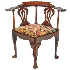 "Irish Georgian Mahogany Corner Reading Chair - Ireland, Circa 1740.  LENGTH: 34.5""  DEPTH: 29.5 in. (75 cm)  HEIGHT: 33 in. (84 cm)    - O'Sullivan Antiques, New York"