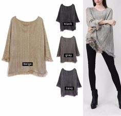 Melange Knit Poncho W/ Fringes / Sweater / Outerwear / One Size