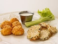 """you had me at baked """"fried"""" pickles. the buffalo chix bites don't look too shabby either!"""