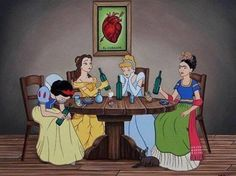 Oh you've never imagined what would happen if Prince Eric and Prince Phillip were in love? Or if the Disney princesses got drunk with Frida Kahlo? Disney Kunst, Disney Art, Disney Pixar, Disney Characters, Disney Girls, Disney Movies, Dark Disney, Cartoon Cartoon, Cartoon Images