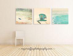 beach photography print set, A Day at the Beach, surfer photo, lifeguard tower art, ocean wave print, coastal decor, blue artwork, mint blue by MyanSoffia on Etsy https://www.etsy.com/listing/255926781/beach-photography-print-set-a-day-at-the