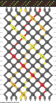 friendship bracelet patterns - 10 strings 18 rows 4 colors