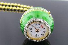 Ferro Jewelers - Estate Jewelry | 1890's Tiffany & Co. Platinum and 18k Diamond Pendant and watch