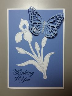 Sympathy Card designed by Sandy - made with Stampin Up Butterfly Thinlets Die, Cricut die cut and various other paper crafting products.