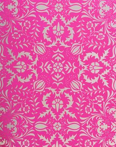 Wallpaper - This wallpaper from Flavor Paper is a bright hot pink floral damask on a metallic silver background. Pink Damask Wallpaper, Glitter Wallpaper, Neon Wallpaper, Wallpaper Patterns, Nursery Wallpaper, Stencil Patterns, Wallpaper Samples, Wallpaper Ideas, Magenta