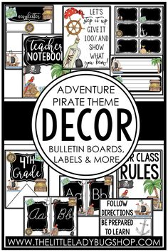 Get ready for back to school with the Adventure Pirate decor theme! This editable set is fun, unique, and has everything you need to decorate your classroom with a cohesive look. The perfect DIY bundle for any elementary classroom, including posters, name plates, alphabet posters, teacher notebook, organization labels, bulletin board decor, and more! #thelittleladybugshop