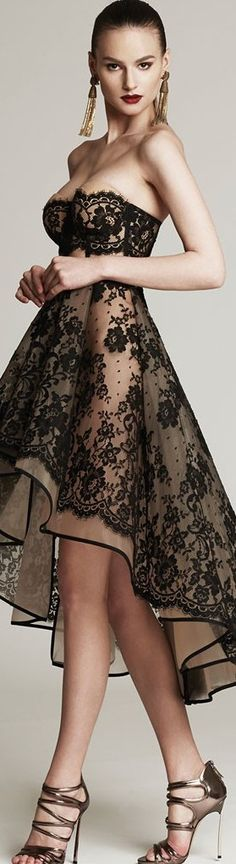 Black lace dress with visible nude-colored bra cups. Beauty And Fashion, High Fashion, Elegant Dresses, Pretty Dresses, Traje A Rigor, Lace Dress, Dress Up, Style Feminin, Dresscode