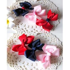 Set of 3 handmade #girls hair bows #alligator clips barrettes #accessories ,  View more on the LINK: http://www.zeppy.io/product/gb/2/181241892799/