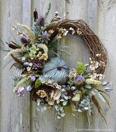 Fall Wreath Autumn Wreath Elegant Fall Wreath by NewEnglandWreath Elegant Fall Wreaths, Autumn Wreaths, Holiday Wreaths, Wreath Fall, Diy Wreath, Door Wreaths, Grapevine Wreath, Pumpkin Wreath, Summer Wreath