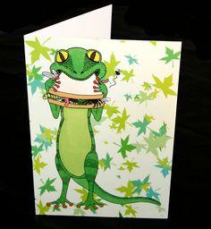 Gecko birthday card lizard blank card A5 by IllustrationByKeziah