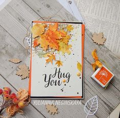 Autumn card - Scrapbook.com - Beautiful fall card made with Lawn Fawn Stitched Leaves die.