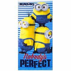 Minions nobody is perfect badlaken. Kinder strandlaken met een afbeelding van de Minions en de tekst: Minions, nobody's perfect. Formaat: ongeveer 70 x 140 cm en gemaakt van 100% velours katoen.