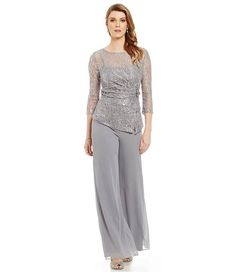 From Emma Street, this pant set features: high boat neckline illusion sleeves illusion yoke with straight bust line metallic lace blouse with uneven hem embellished brooch at l. Chiffon Pants, Lace Chiffon, Unique Dresses, Formal Dresses, Wedding Pants, Mothers Dresses, Bridal Outfits, Mother Of The Bride, Gowns
