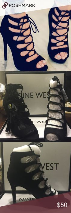 Nine West  lace up heels Theses are super cute  Nine West lace up heels with tassel laces. Perfect with a pair of cuffed jeans or your favorite dress!!! These heels are brand new in the box. MAKE AN OFFER!!  Nine West Shoes Heels