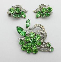 Vintage Eisenberg Ice Brooch and Earrings