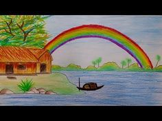 How To Draw Rainbow Scenery Step By Step Landscape Drawing For