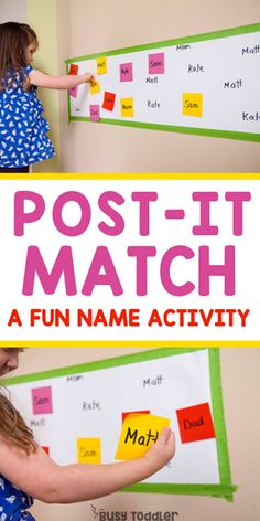Post-It Name Match Learning Activity Is your toddler or preschooler working on name recognition? Try making a Post-It Name Match activity - a quick and easy indoor learning activity! writing activities at home Name Activities Preschool, Pre K Activities, Preschool Learning Activities, Name Writing Activities, Preschool Alphabet, Alphabet Activities, Toddler Preschool, Family Activities, Kids Learning