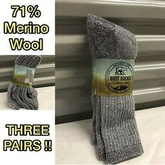 4pair Kids Excell Merino Wool Blend Thermal Crew Socks Medium 6-8
