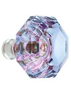 Blue to Lavender Lead-Free Octagonal Crystal Knob with Solid Brass Base | House of Antique Hardware