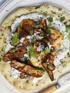 Grilled Halloumi & Aubergine Wraps With Herbed Yoghurt | sheerluxe.com #easyfoodrecipes #cuisine #voeding #eten recepten #recetas #makkelijkerecepten #kooktips #diners #vegetarian #vegetarisch #gerechten