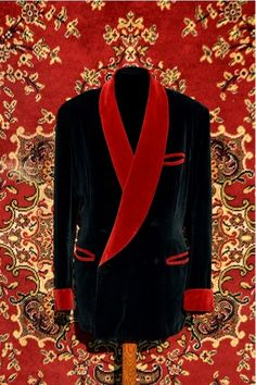Victorian smoking jacket - wouldn't Mr Dog and friends love it? Velvet Smoking Jacket, Velvet Jacket, Dapper Gentleman, Gentleman Style, Sharp Dressed Man, Well Dressed Men, Red Velvet Suit, Prom Tuxedo, Blazer Fashion