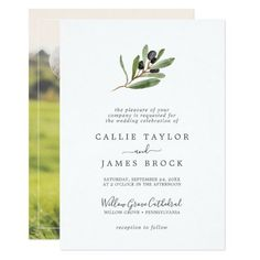 Modern Olive Branch Photo on the Back Wedding Invite with elegant yet rustic watercolor botanical green leaves and black olives on a branch with a classic mediterranean feel. Click to customize with your personalized details today. Wedding Invitation Video, Engagement Party Invitations, Beautiful Wedding Invitations, Custom Invitations, Invitation Design, Invite, Elegant Wedding, Rustic Wedding, Olive Branch Wedding