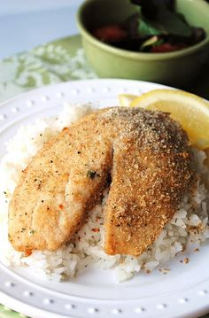 Parmesan Encrusted Tilapia (recipe at the bottom). I LOVE this recipe. So tasty and easy.