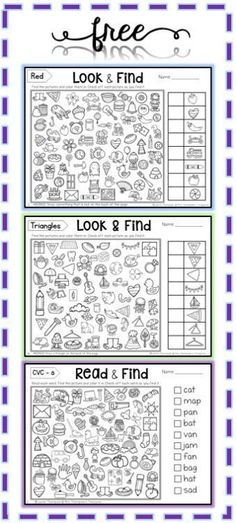 Free printable Hidden Picture Activities - to find and color!