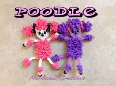 Rainbow Loom Poodles on a Single Loom