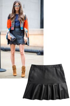 15 Styling Tricks to Steal from NYC's Street Style Masters: Why wear a boring black skirt when you could wear a leather black skirt? Intriguing incarnations of those everyday essentials give your look gravitas—and become the launchpad for more avant-garde items, like a bright capelet. Coach Fluid Leather Skirt, $695, coach.com