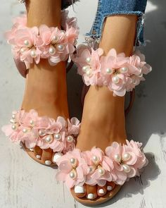 Pearl Beaded Patchwork Floral Flat Sandals – modewish sandals outfit casual,fashion,flatsandals #summersandals #sandalsoutfitcasual #fashion Cute Shoes Flats, Flat Sandals Outfit, Fashion Sandals, Me Too Shoes, Shoes Sandals, Diy Lace Ribbon Flowers, Beaded Shoes, Floral Flats, Shoe Art