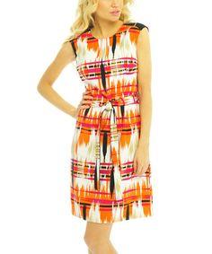Coral & White Waist-Tie Shift Dress