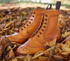 Mens Brogues Wingtip Calf Skin Brown Leather High