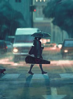 Rain, walk, cat and violin. What can be better?