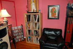 Vinyl record storage open shelving from Ikea