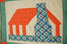 VIBRANT 30's HONEYMOON COTTAGE Antique Quilt ~NICE COLORS & GREAT CONDITION! | eBay
