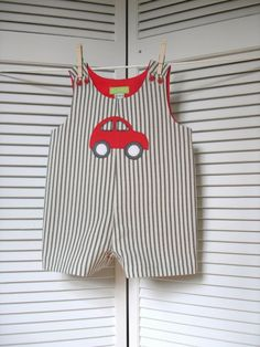 Red Car Applique Romper by roomtoromp on Etsy
