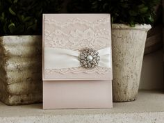 Invitation 1036: Blush Pearl, Blush Pearl, Cream Smooth, Allura, High Tower, Antique Ribbon, Cream Lace, Brooch/Buckle A6 - Wedding Invitations, Bridal Shower Invitations, Pocketfold, Rhinestone Pearl Buckles - Stephita Invitations Online, Toronto, Richmond Hill, Markham, Scarborough, Mississauga, Thornhill, Etobicoke, York, East York, Woodbridge, Vaughan, Concord, North York, Maple, New York, Barrie, Ajax, Pickering, Oakville, Newmarket, Vancouver, Edmonton, Calgary, Montreal, Ontario…