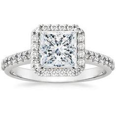 18K White Gold Fancy Diamond Halo Ring, top view