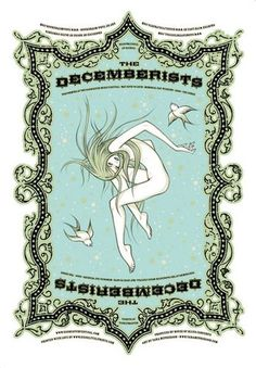 Tara McPherson - The Decemberists 4 Color Silkscreen x Edition of 300 2006 Type Posters, Rock Posters, Concert Posters, Poster Prints, Art Prints, Gig Poster, Music Posters, Event Posters, Art Posters