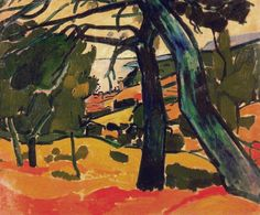 Landscape, oil on canvas, 54 x 65 cm, Fauvism, Andre Derain Andre Derain, Henri Matisse, Raoul Dufy, Paul Cezanne, Oil Painting Gallery, Painting & Drawing, Landscape Art, Landscape Paintings, Art Fauvisme
