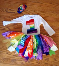 Rainbow Birthday Outfit - rainbow tutu - bright color birthday - Long sleeves available, rainbow fascinator rainbow bow on Etsy, $40.61 CAD