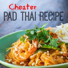 Cheater Pad Thai Recipe Main Dishes with rice noodles, cooking oil, shrimp, eggs, garlic, snow peas, beansprouts, sauce, water, lime wedges, peanuts, hot chili sauce, fresh cilantro
