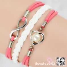 White Weave korean cashmere Infinity Heart Artificial Pearl Pendant Bracelet [IB257] - $5.70 : Wholesale Beads and Jewelry Making Supplies - ibead.cc