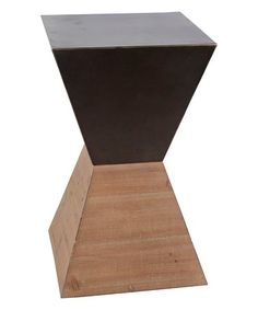 This 23.5'' Geometric Metal & Wood Accent Table is perfect! #zulilyfinds