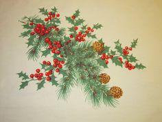 Vintage Wilendur Christmas Tablecloth Pine by unclebunkstrunk, $74.99