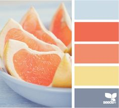 nice melon orange with yellow and gray. The perfect balance between calm and a nice color pop.