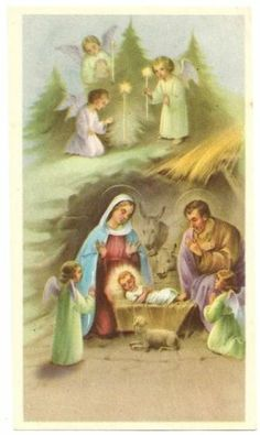 NATIVITY Christmas Scene Baby Jesus with Angels - Vintage Holy Card - Italy