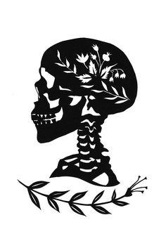 Head Full of Flowers Halloween Skull Silhouette Papercutting by Jenny Lee Fowler