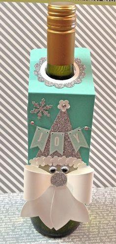 distINKtive STAMPING designs: Wine Bottle Gift Tag Santas